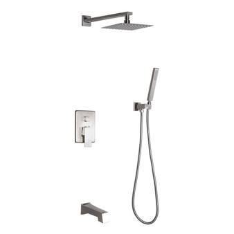 Dyconn Faucet Talise SS312A-BNT Wall Mounted 3-Setting Shower Faucet System w/ 304T Stainless Steel Shower Head, Faceplate & Tub Spout in Brushed Nickel