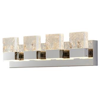 Dyconn Faucet Regal Vanity Light w/ 4 Clear Acrylic Ice Block Design Stainless Steel Base Chrome Mirror Finish Bathroom Vanity Light