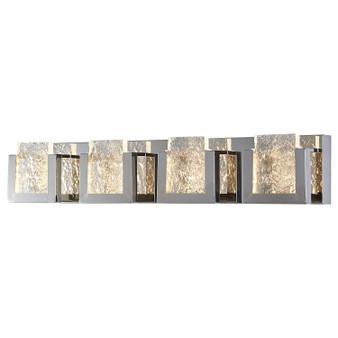 "Dyconn Faucet Castle Vanity Light 32"" 4 Panels 3000K Modern Frozen Ice Block Style Chrome Bathroom Vanity Light (Regular Frozen Ice Block)"