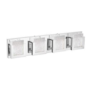 "Dyconn Faucet Castle Vanity Light 32"" 4 Panels 3000K Modern Frozen Ice Block Style Chrome Bathroom Vanity Light (Crystal Frozen Ice Block)"