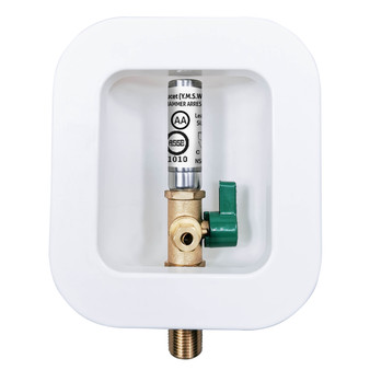 """Dyconn Faucet MH1611-C11 Icemaker Outlet Box with Stainless Steel Hammer Arresters (1/2""""-Inch Sweat Connection (MIP)) to 1/4 inch Compression"""