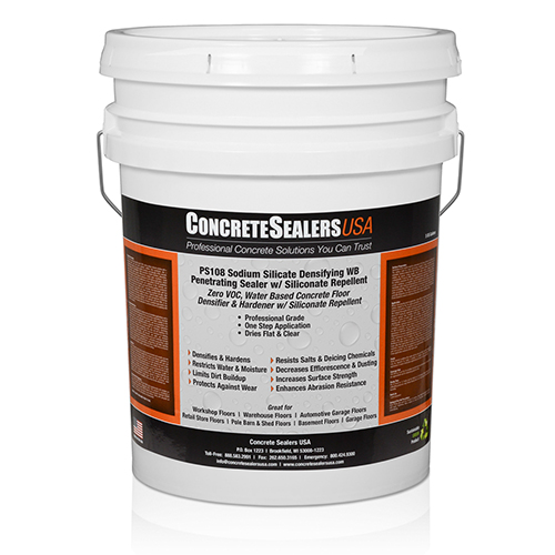 PS108 Sodium Silicate Densifying WB Penetrating Sealer w/ Siliconate Repellent (5 gal.)