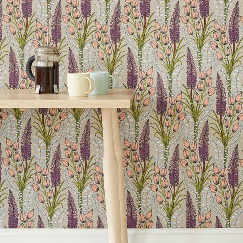 Intricately drawn Foxtail Lily blooms grow among pastel bulbs on this floral wallpaper.