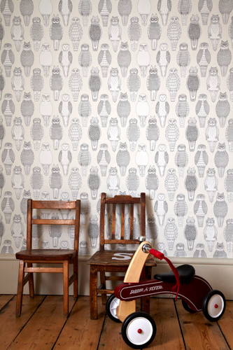 Owls of the British Isles wallpaper. 5% of profits will go to the conservation of owls.
