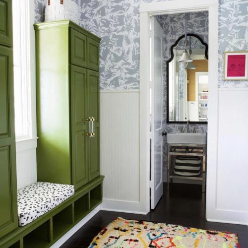 Grey Otomi wallpaper hallway.