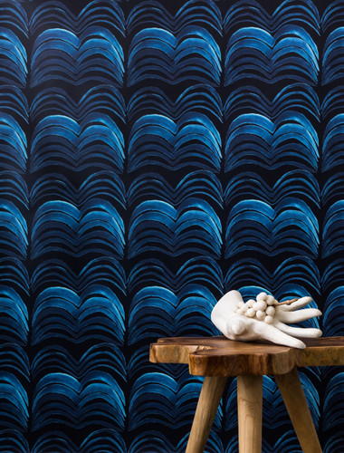 Vibrant patterned wallpaper.