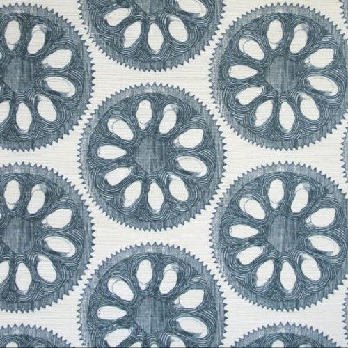 Blue and white circle pattern on grasscloth.