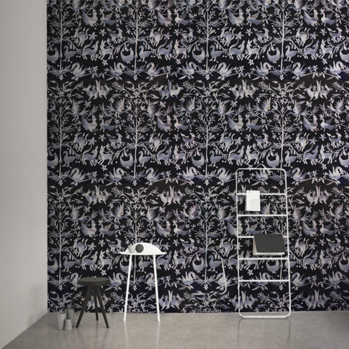 White on Black embroidered Wallpaper.