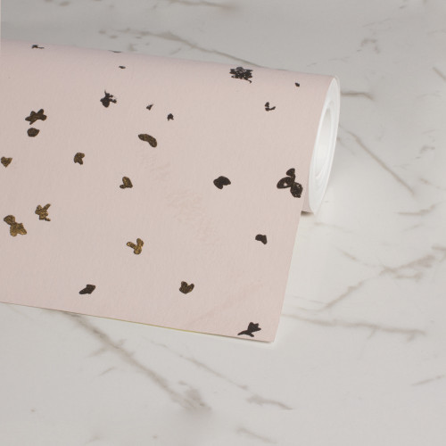 Pink Wallpaper with hand-foiled fragments.