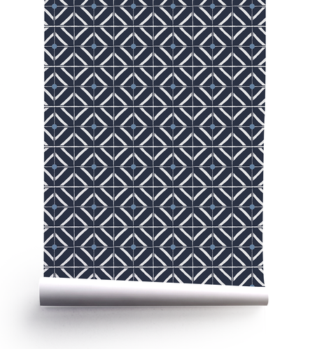 Navy blue geometric tile-like pattern with dove blue and white.