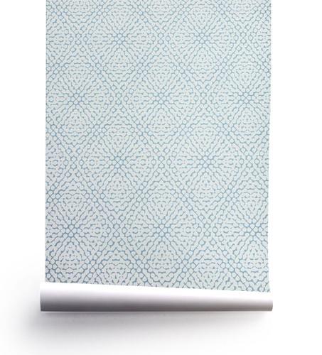 Grasscloth wallpaper in our Hydrangea pattern.
