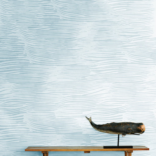 Ocean inspired wallpaper in blue and white on vinyl.