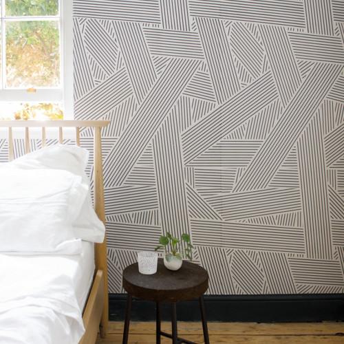 Stripe blocked wallpaper in black and white.