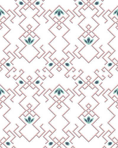 Geometric pattern in pink, gray, and green on a white wallpaper.