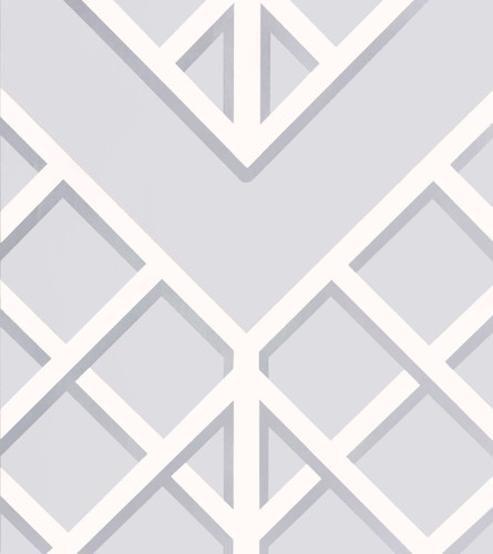 Neutral blue gray wallpaper with a trellis pattern.