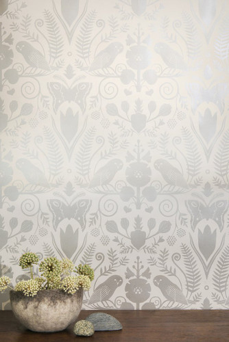 Metallic Silver owls, flowers and butterflies on cream wallpaper.