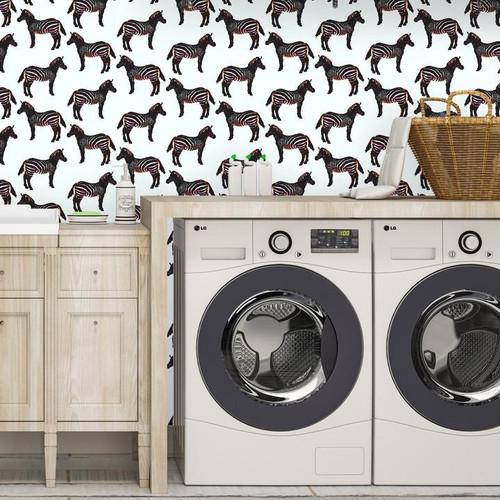 Zebras wallpaper makes laundry more fun.
