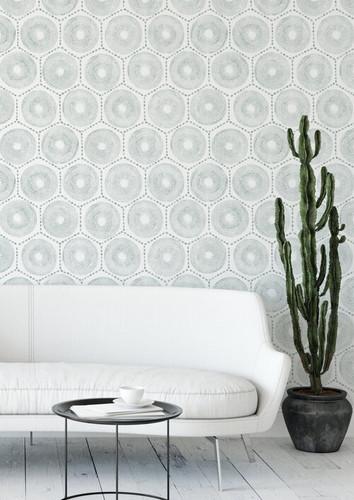 Hexagon living room wallpaper.