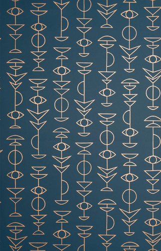 Dark blue wallpaper with metallic symbols.