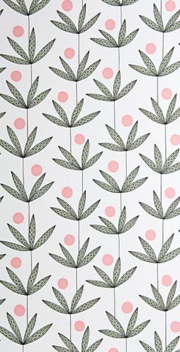 Palm fronds and pink dots on white wallpaper.