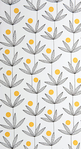 Palm fronds and yellow dots on white wallpaper.