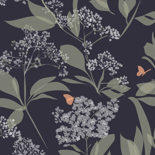 Dark purple wallpaper with leaves, buds, and butterflies.