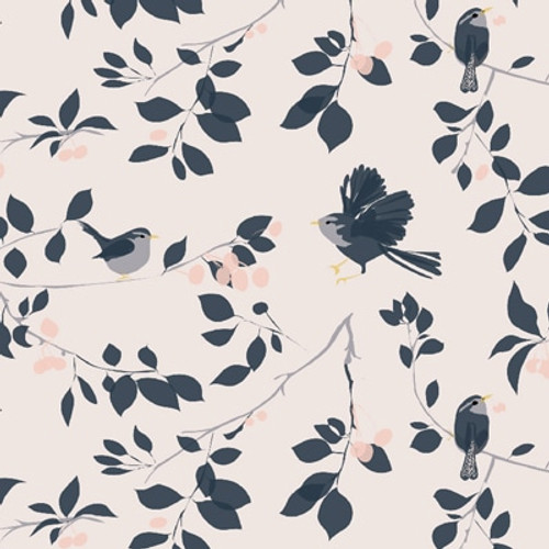 Pink wallpaper with blue wrens flying amongst the cheery tree branches.