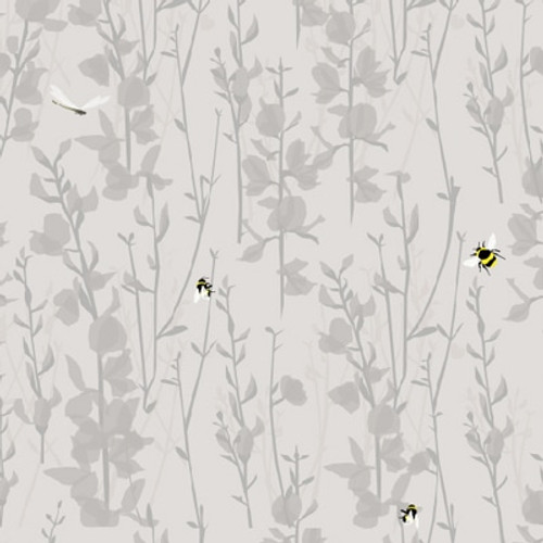 Grey floral wallpaper featuring little yellow bees.
