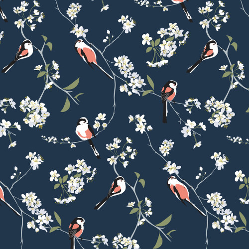 Bird wallpaper featuring English cherry blossoms on navy background.