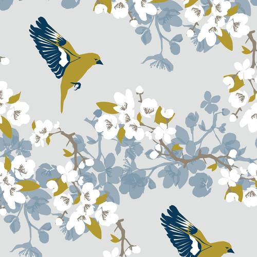 Apple blossoms and bird wallpaper.