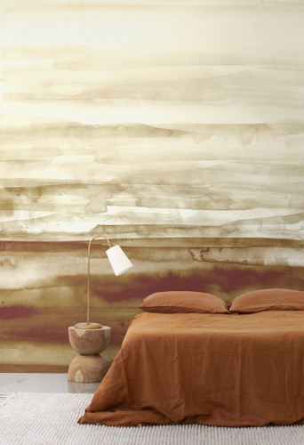 Wall mural in earthy colors.