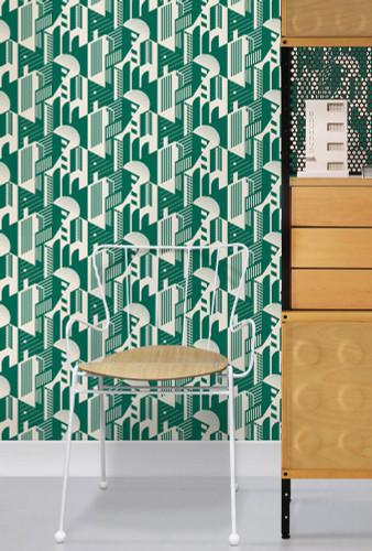 Green wallpaper with a retro graphic deign.