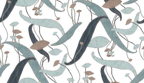 Underwater wallpaper scene with taupe and blues.