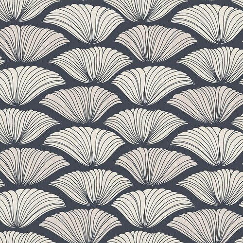 Large floral bloom wallpaper in white and navy.
