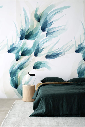 Watercolor mural wallpaper inspired by birds in flight.