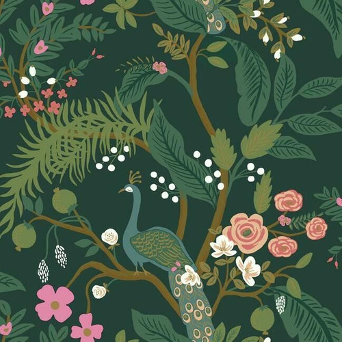 Winding branches in greens on this Peacock wallpaper.