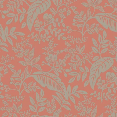 Rose and silver leafy wallpaper.