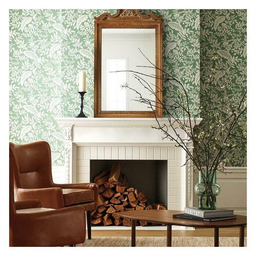 Family room featuring modern classic wallpaper in green and silver.