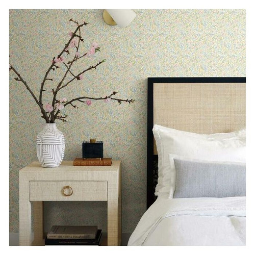 Bedroom featuring small floral meadow of flowers.
