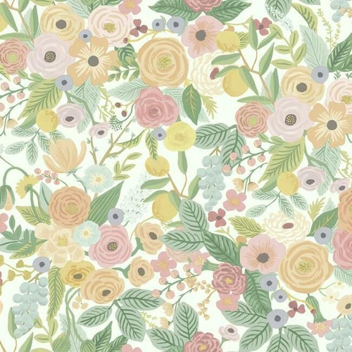 Classic modern floral wallpaper in pastel colors.