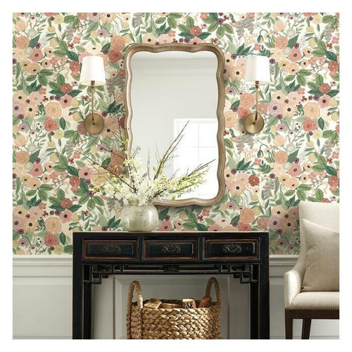 Modern floral wallpapered family room.