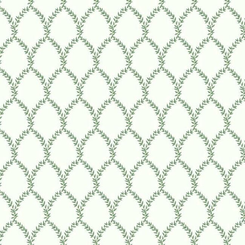Classic green and white wallpaper in a lattice pattern.