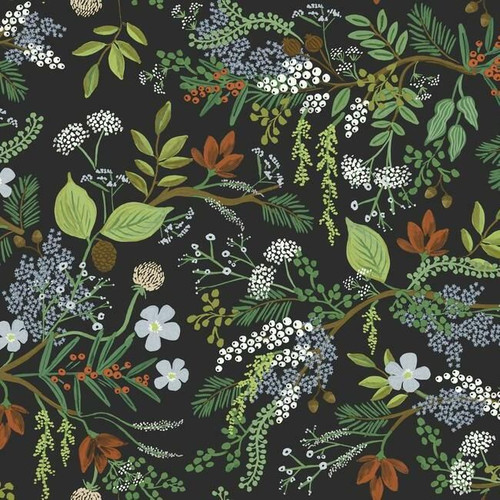 Colorful flowers, pines, and branches on black wallpaper.