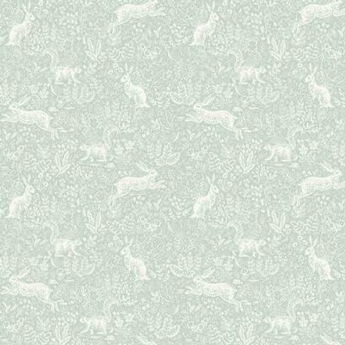 Forest of leaves, flowers, and woodland creatures on neutral colored wallpaper.