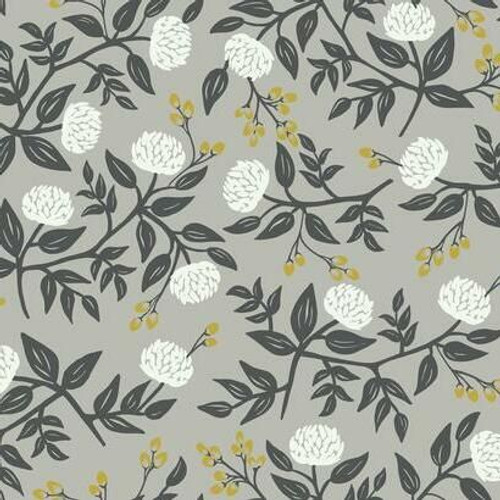 White peony flowers with metallic buds on gray wallpaper.