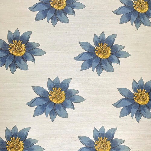 Large blue blooms on a creamy grasscloth wallcovering.
