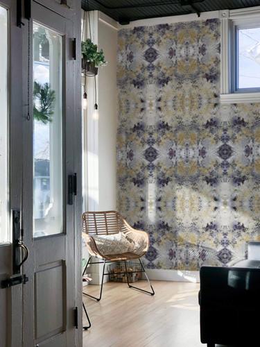 Wallpapered sunroom.