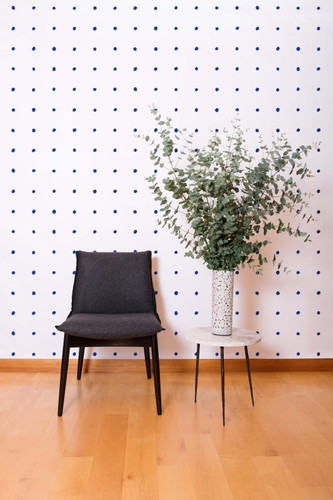 Yves blue metallic polka dot wallpaper.