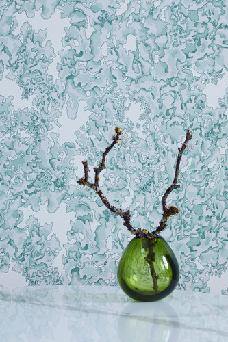 Blue and green lichen covered wallpaper.