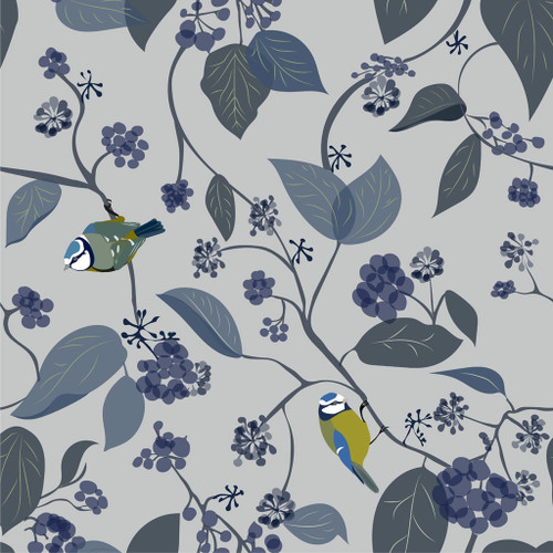 Birds and ivy on blue wallpaper.